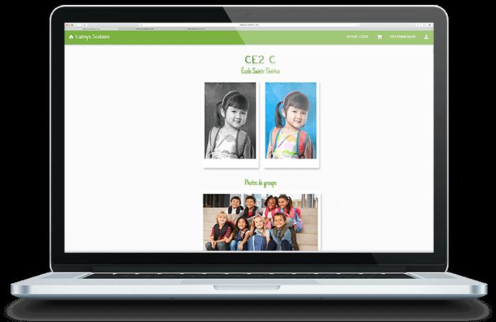 Image affichant un ordinateur portable où sont affichées les photos scolaires à la vente sur l'interface parent de Lumys Scolaire, logiciel de photo scolaire en ligne pour les photographes professionnels en France et en Belgique