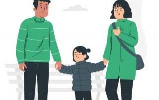 Illustration montrant des parents tenant leur enfant par la main, pour illustrer le tutoriel expliquant aux parents comment se connecter sur Lumys Scolaire, logiciel de photo scolaire en ligne pour les photographes professionnels en France et en Belgique, pour visualiser et commander les photos scolaires de leur enfant