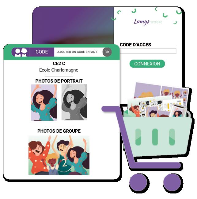 logiciel de photo scolaire en ligne - fonctionnalités - interface simple, beaucoup de choix de produits photo