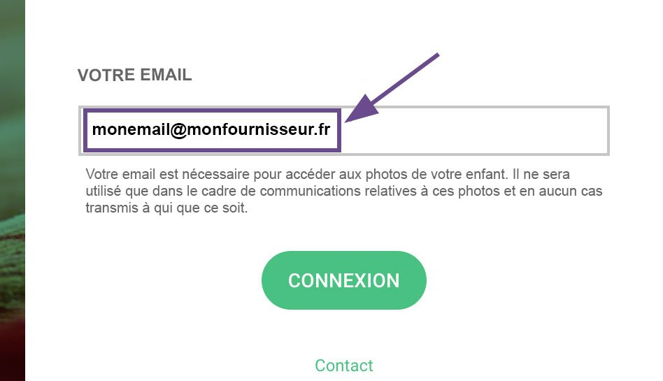 Image illustrant l'étape de renseignement d'email sur l'interface parent de Lumys Scolaire, logiciel de photo scolaire en ligne