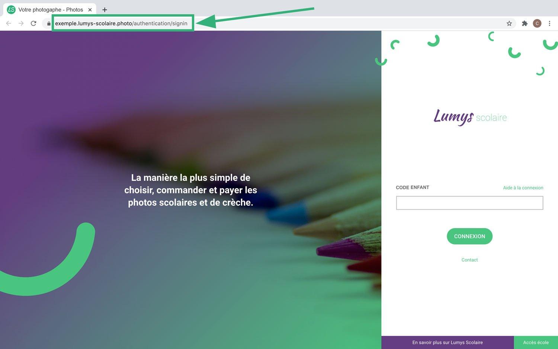 Interface de connexion parent du logiciel Lumys Scolaire, logiciel de photo scolaire en ligne