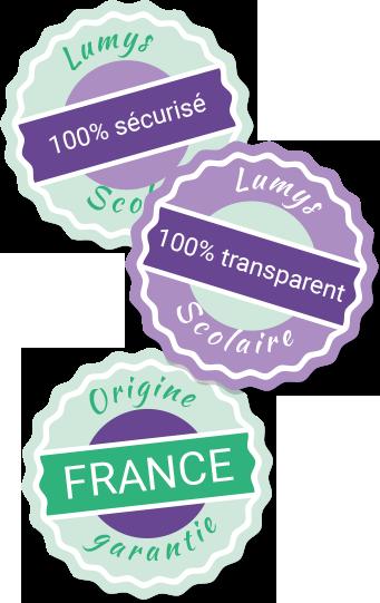 Illustration expliquant que Lumys Scolaire, logiciel de vente de photo scolaire en ligne, est 100% sécurisé, 100% transparent et 100% made in France